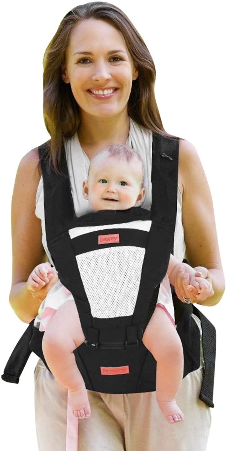 besrey Portabebe Ergonómico con Asiento Puro algodón Ligero y Transpirable Ajustable para Recién Nacidos y Niños Pequeños de 0 a 3 Años (3.5 a 20 Kg) - Negro