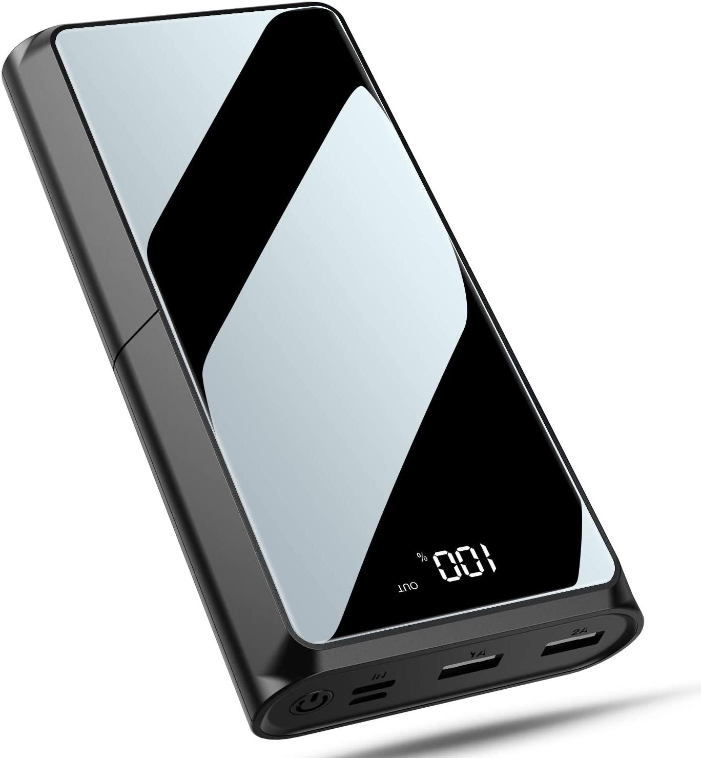 Bewahly Batería Externa 20000mAh, USB C 18W PD Carga Rápida Power Bank Cargador Portátil, Bateria Portatil para Movil con Pantalla LCD, 3 Salida & 2 Entrada para iPhone, Samsung, Huawei y Más - Negro