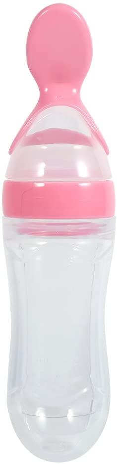 Biberón, Silicona Apretar Cuchara de Dispensación de Comida para Bebés Botella Bebé de Silicona Alimentador 90ml(Pink)