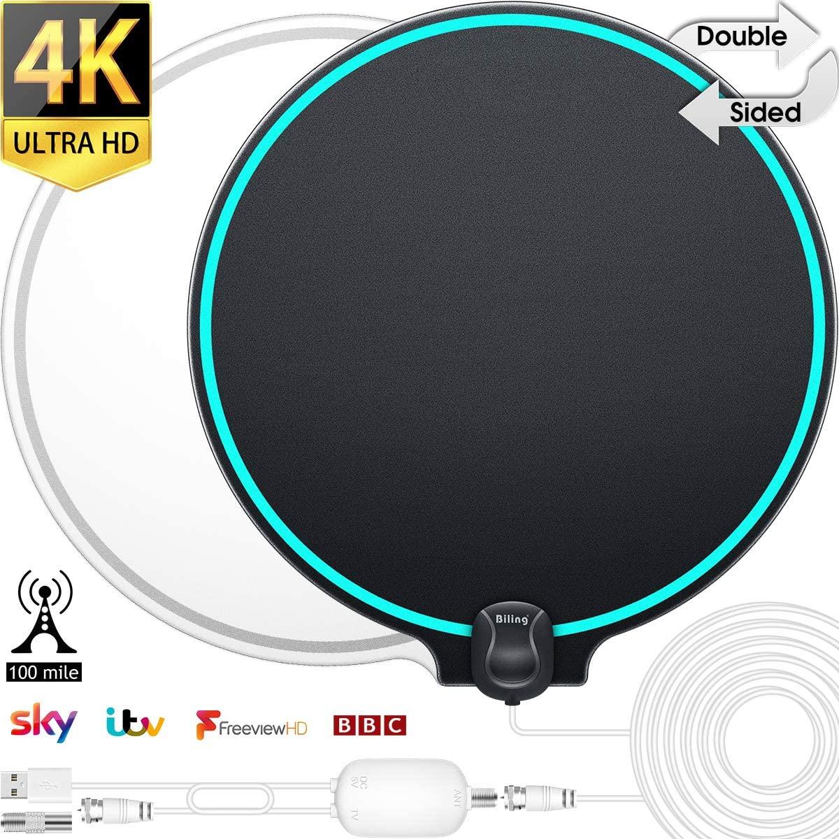 Biling Antena TV Interior- Antena TV portátil HD TV Digital con Amplificador de señal Inteligente para Canales de TV gratuitos Soporte 4K 1080 HD/VHF/UHF, Apto para Todos los Tipos de TV