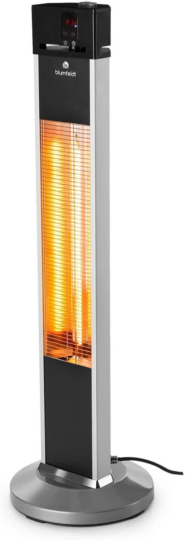 Blumfeldt Heat Guru Estufa por Infrarrojos - Calefactor de pie, Radiador, Calefactor, Alto Rendimiento, MAX 2000 W, 3 Niveles, Eficiente, IP34, Mando, Plata