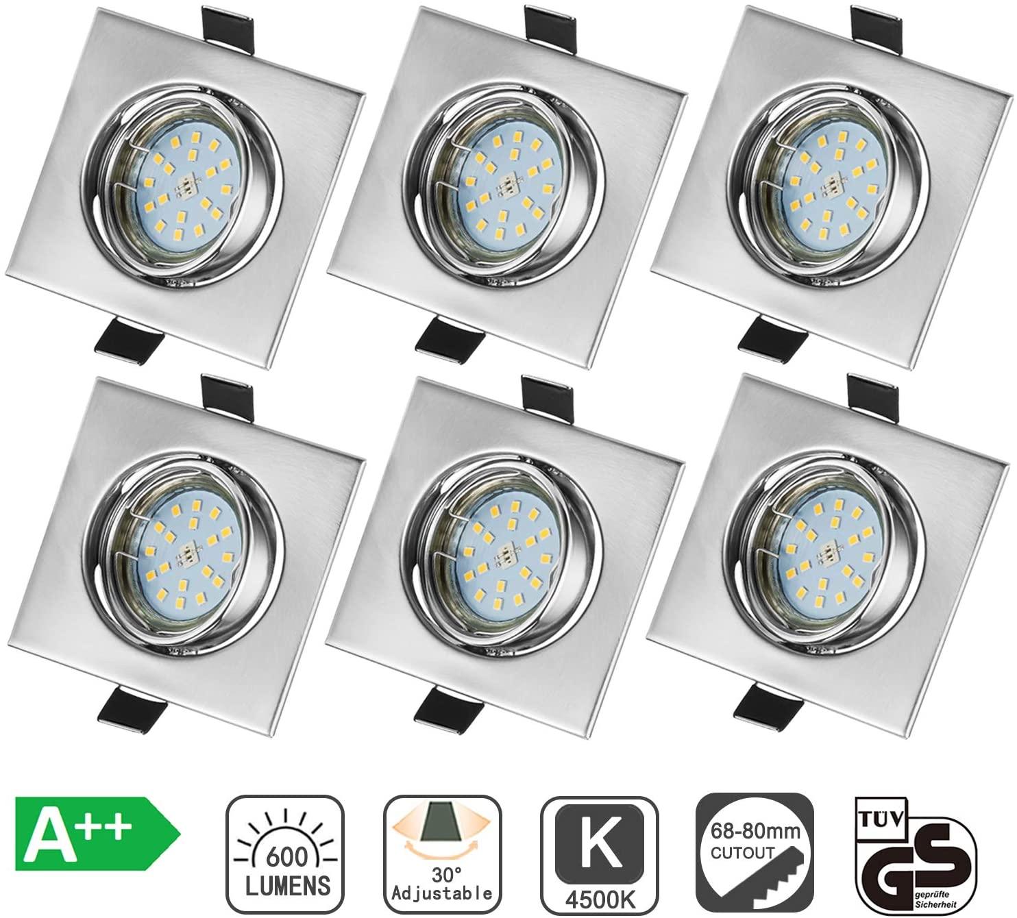 Bojim 6x GU10 Foco Empotrable para el Techo Cuadrado, 6W Blanco Natural 4500K LED Luz de Techo 600lm 82Ra Ángulo de Basculación del Ojo de Buey 30° y Ángulo de luz 120° AC 220V-240V IP20 [Clase de eficiencia energética A++]