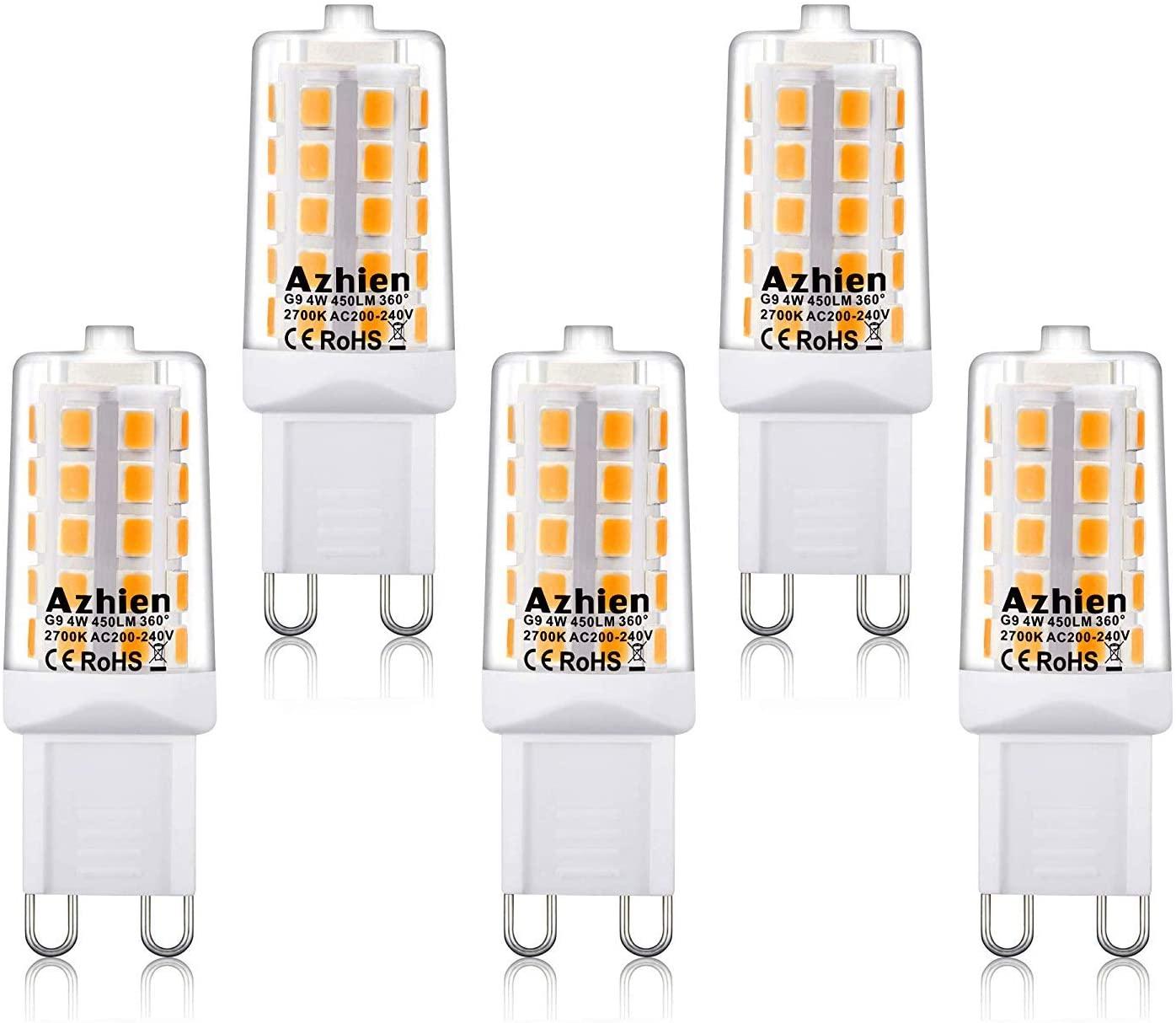 Bombillas LED G9 4W Azhien, 28W 33W 40W Equivalente de Luz Halógena, 2700K Lámparas LED Blancas Cálidas, 200-240V AC, Sin parpadeo, Sin Estroboscópico, 360 Grados, 450Lm, Paquete de 5 [Clase de eficiencia energética A++]