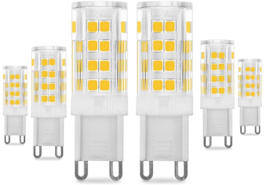 Bombillas LED G9 de 5W, Pursnic Equivalentes a Lámparas halógenas de 40W, 3000K G9 Lámparas LED Blancas Cálida, 400LM, Ángulo de Haz de 360°, AC 220-240V, Pack de 6 (6P, 5W 3K) [Clase de eficiencia energética A]