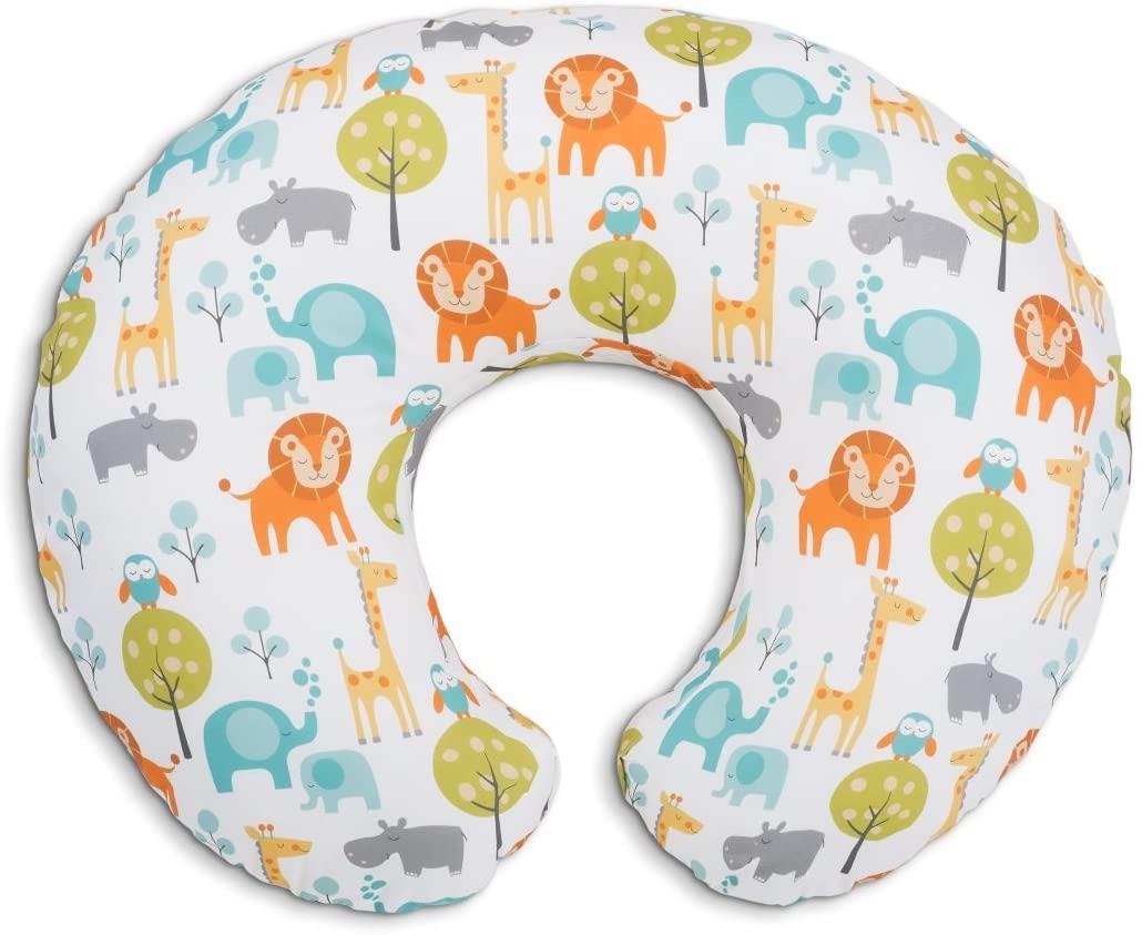 Boppy- Cojín de lactancia algodón, ergonómico, indeformable y optima adaptabilidad, de 0 a 12 meses, estampado Jungle