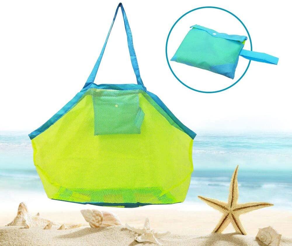 Bornfeel Bolsa de Juguetes Playa Bolsa de Malla para Niños Guardar los Juguetes Bolas Conchas Verde 45 x 30 x 45cm (18 x 12 x 18in)Malla Verde & Correas Azules