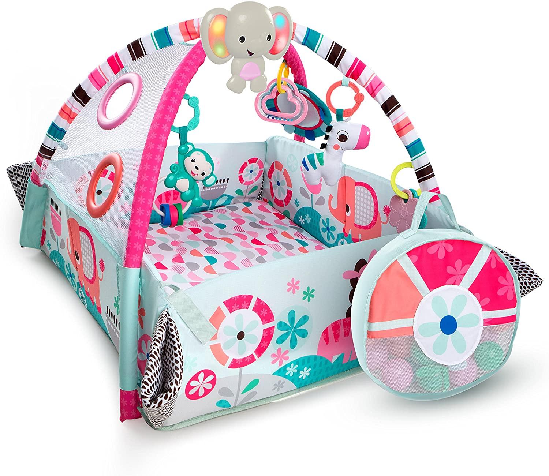 Bright Starts, Gimnasio de Actividades 5-en-1 rosa Your Way Ball Play - incluye 35 bolas y 12 juguetes con luz y música