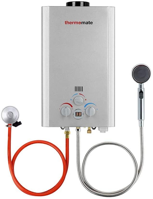Calentadores de Gas, thermomate BE211S 8 Litros Instantáneo Calentador de Agua a Gas GLP, uso para Caravana, Camping [Clase de eficiencia energética A]