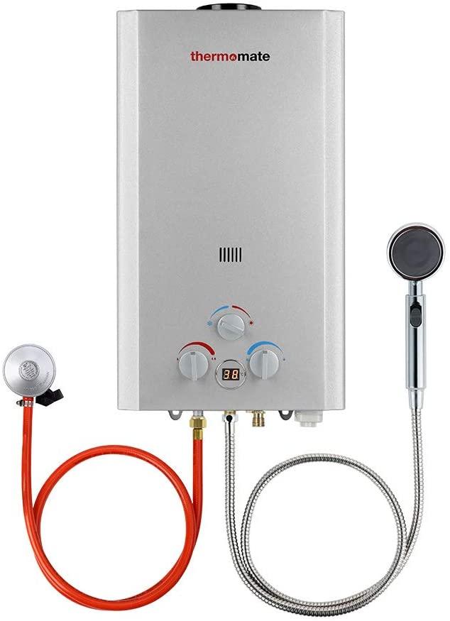 Calentadores de Gas, thermomate BE318S Instantáneo Calentador de Agua a Gas GLP 12 Litros, uso para Caravana, Camping [Clase de eficiencia energética A]