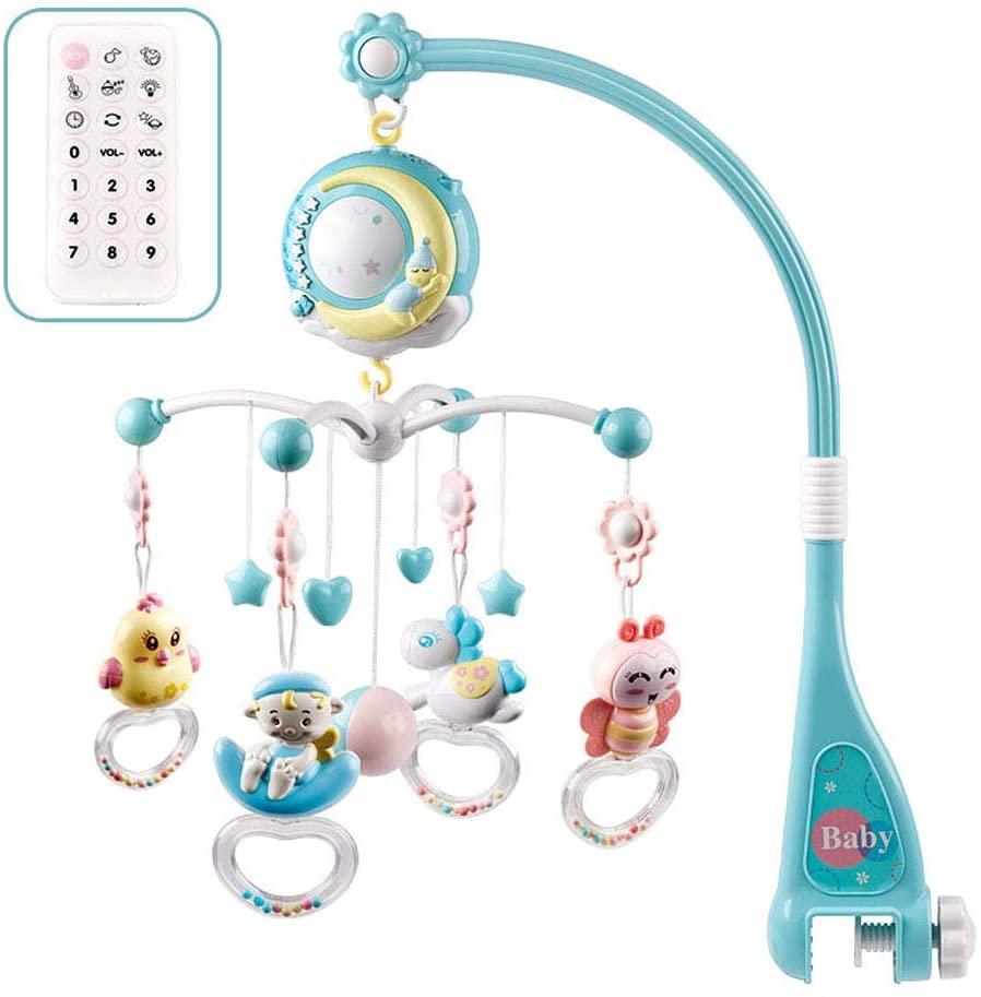 Calistouk Móvil Musical para Cuna de Bebé con Mando a Distancia Luz de Estrellas Campanilla Decoración Sonajero para Cama Juguete Proyector de Cuna para Bebés Recién Nacidos