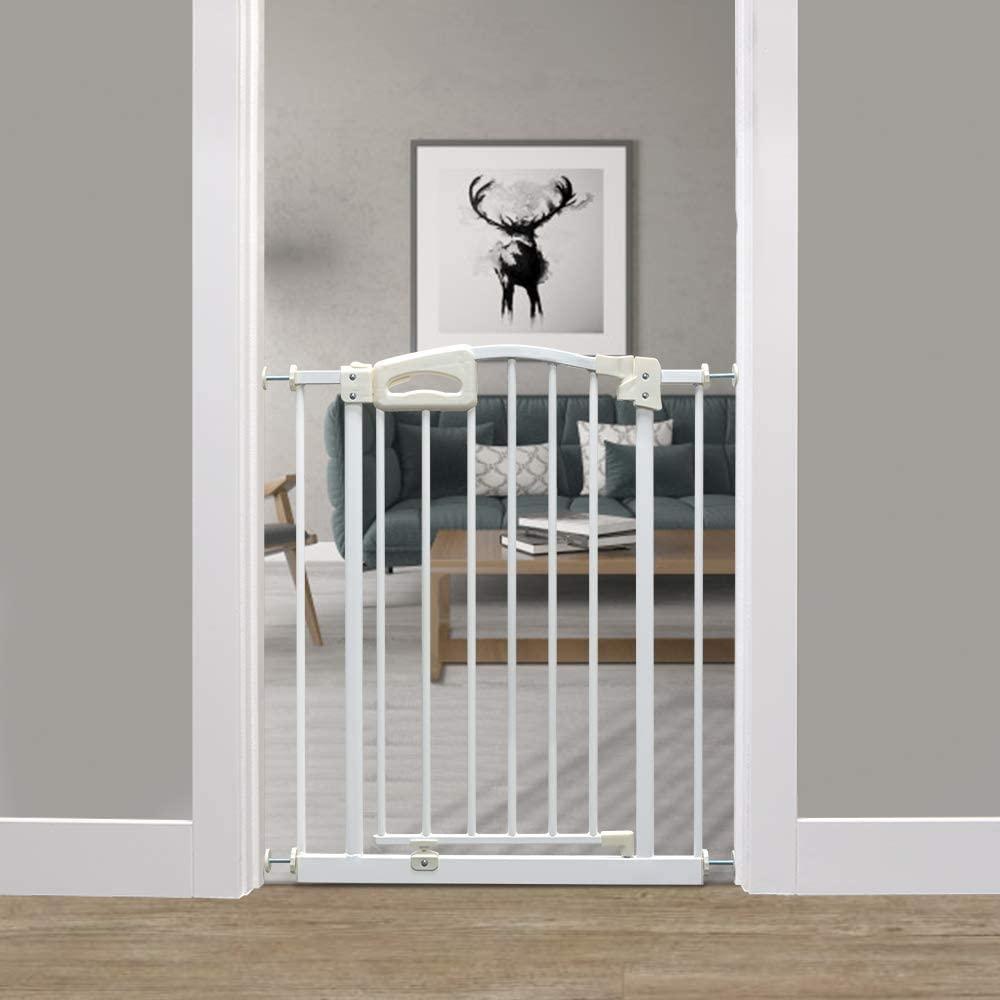 Callowesse Carusi - Puerta de bebé estrecha 63-70cm - Blanco metálico con cierre automático, calidad a presión de la puerta de la escalera no requiere herramientas
