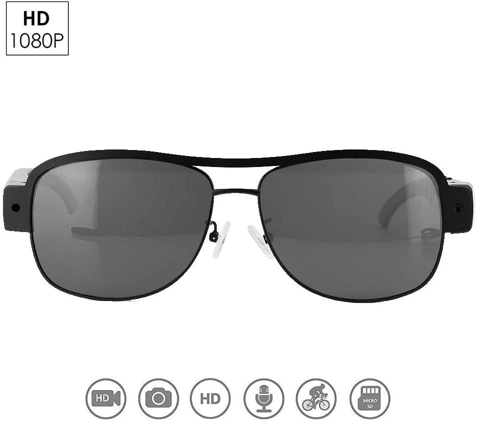 Cámara de los vidrios de 1080P HD, videograbadora de las gafas de sol de la seguridad del grabador video audio de DVR con el interruptor del tacto, a prueba de mal tiempo