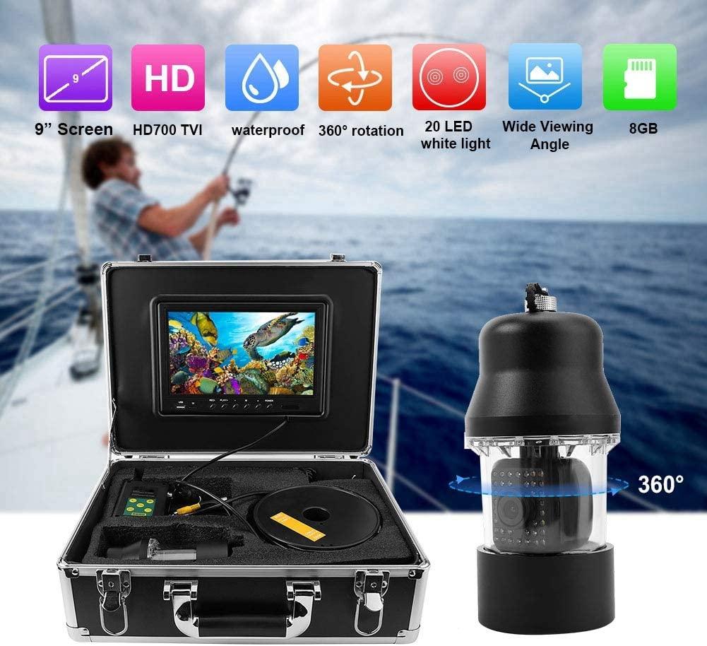 Cámara de pesca submarina, sistema de videograbadora LCD de pesca submarina LCD de 9 pulgadas Buscador de peces giratorio de 360 ° con cable de 20 m para pesca, inspección de pozos / tuberías(EU)