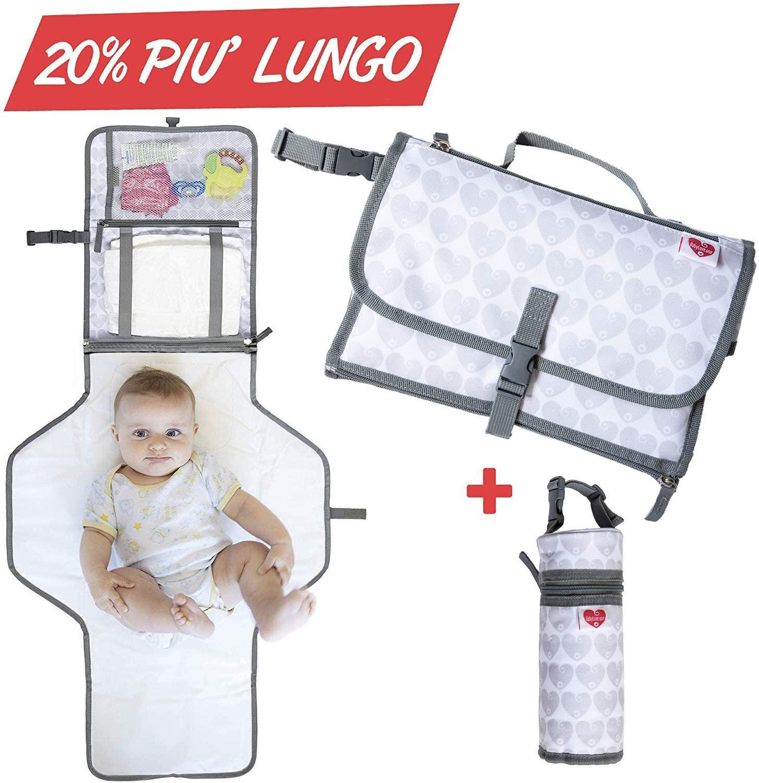 Cambiador Portátil de Pañales para Bebé, Kit cambiador de viaje, NUEVO MODELO 2020, Bolso por el cambio de pañales para bebé, Colchón, almohada y portabiberón térmico incluidos