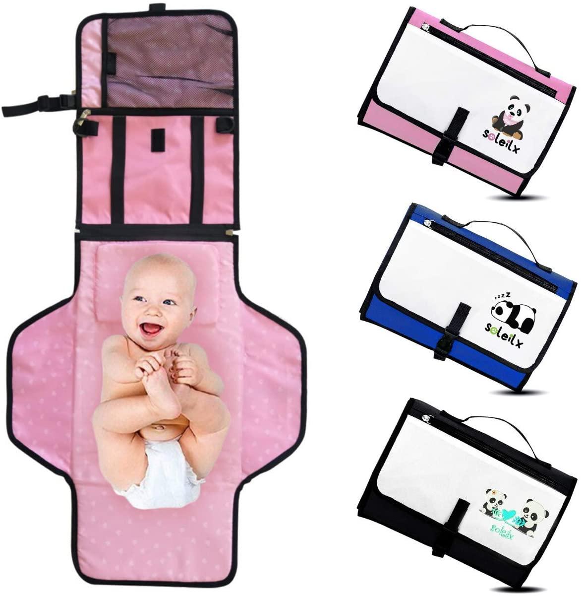 Cambiador portátil plegable con diseño de panda Bolso cambiador de viaje colchón cambiador pañal bolso cambiador de bebé accesorios set de regalo para recién nacidos, kit de regalo para niño o niña