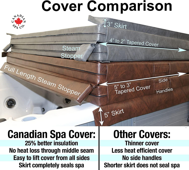 Canadian Spa - Cubierta para bañera de hidromasaje, estrechamiento de 4,25 cm, 2,13 x 2,13 m, color marrón