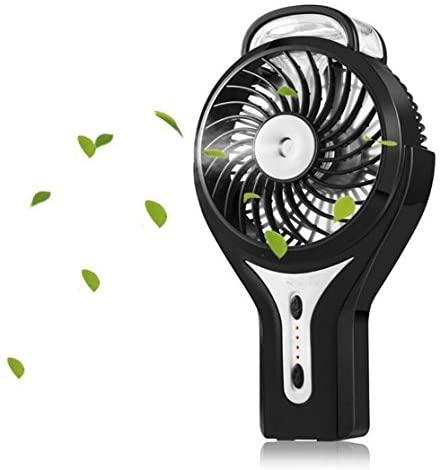 Carryme Mini Ventilador de refrigeración Recargable, portátiles portátil Ventilador de nebulización USB 3 velocidades Incorporado 2000mAh batería Recargable Mini Agua pulverización Ventilador