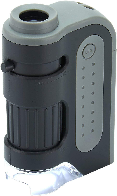 Carson MicroBrite Plus - Microscopio de bolsillo, aumento 60x-120x, con Iluminación LED