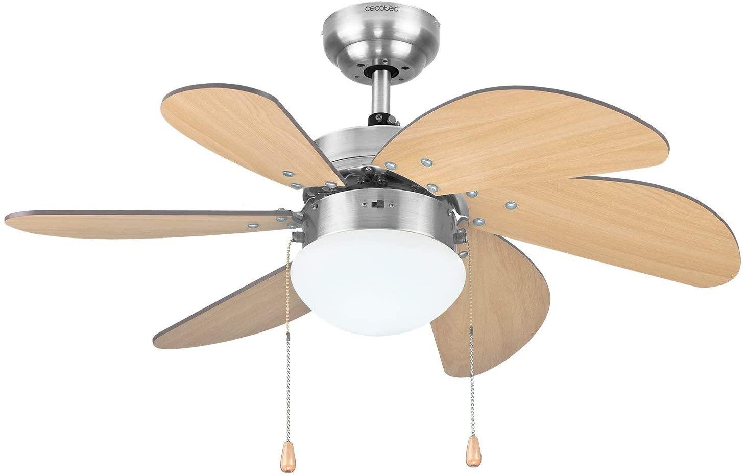 Cecotec Ventilador de Techo ForceSilence Aero 350. 81 cm de Diámetro, Luz, 6 Aspas Reversibles, 3 Velocidades y Función Invierno, 50W [Clase de eficiencia energética A]