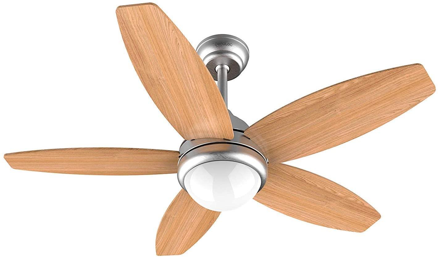 Cecotec Ventilador de Techo ForceSilence Aero 490. 5 Aspas, 42'', 3 Velocidades, Con Lámpara, Mando a Distancia, 50W [Clase de eficiencia energética A]