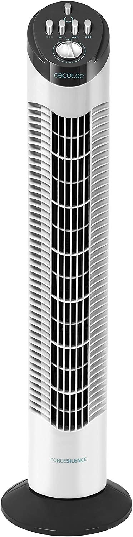 Cecotec Ventilador de Torre ForceSilence 790 Skyline. 30'' (76cm) de Altura, Oscilante, Motor de Cobre, 3 Velocidades, Temporizador 2 Horas, 50W