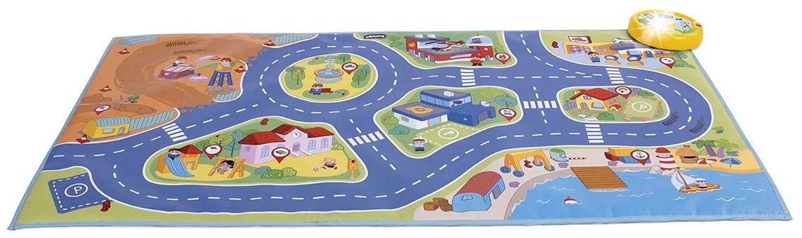 Chicco - Alfombra de juegos de coches interactiva, con luces y sonidos de la vida urbana, 110 cm, incluye coche Turbo Touch