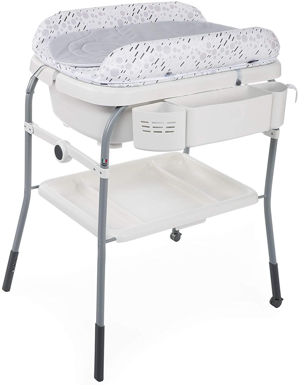 Chicco Cuddle&Bubble - Bañera y cambiador 2 en 1, plegable y compacta, peso 10 kg, color gris (Cool Grey)