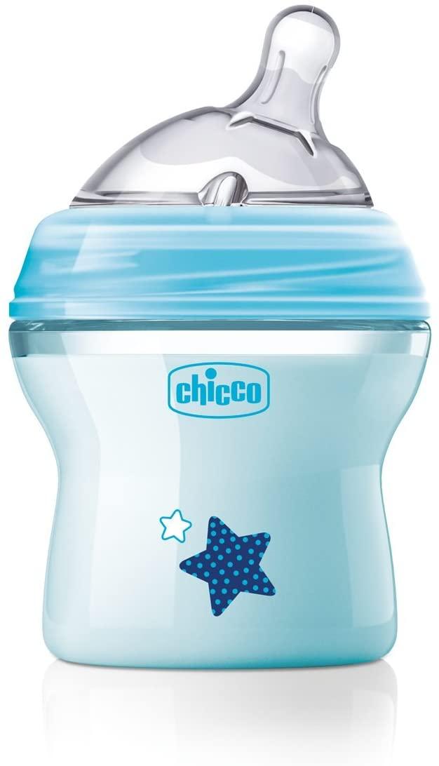 Chicco NaturalFeeling - Biberón con tetina inclinada especial para lactancia mixta, flujo normal, 150 ml, 0 m+, azul