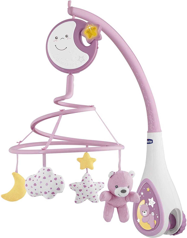 Chicco Next2Dreams - Móvil de cuna con melodías y sonidos blancos para cunas de colecho y madera, color rosa