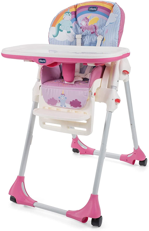 Chicco Polly Easy - Trona amplia, compacta y sencilla, 4 ruedas, para niños de 0 a 3 años, Rosa (Unicorn)