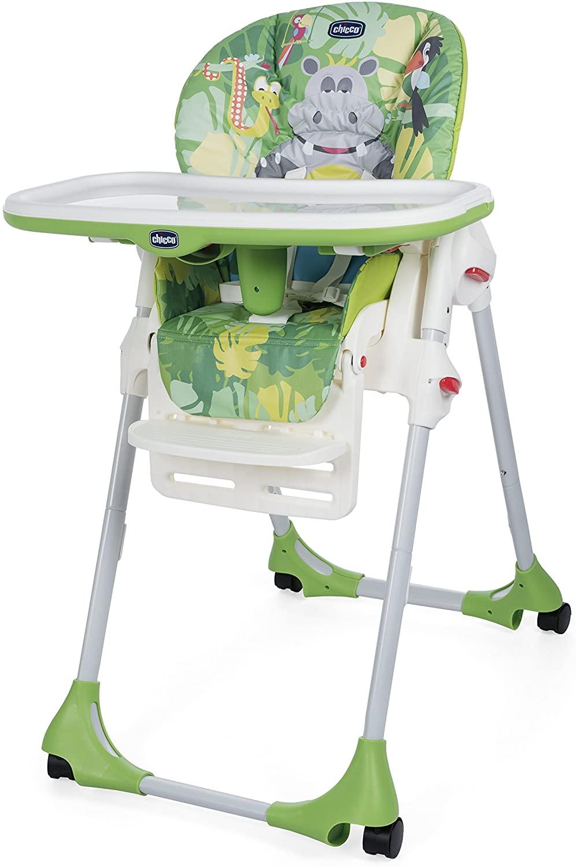 Chicco Polly Easy - Trona amplia, compacta y sencilla, 4 ruedas, para niños de 0 a 3 años, Verde (Happy Jungle)