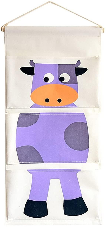 chicieve algodón tela de pared para puerta armario para colgar bolsa de almacenamiento caso organizador bolsillos casa bolsa de almacenamiento para el dormitorio de los niños/puerta Purple cow