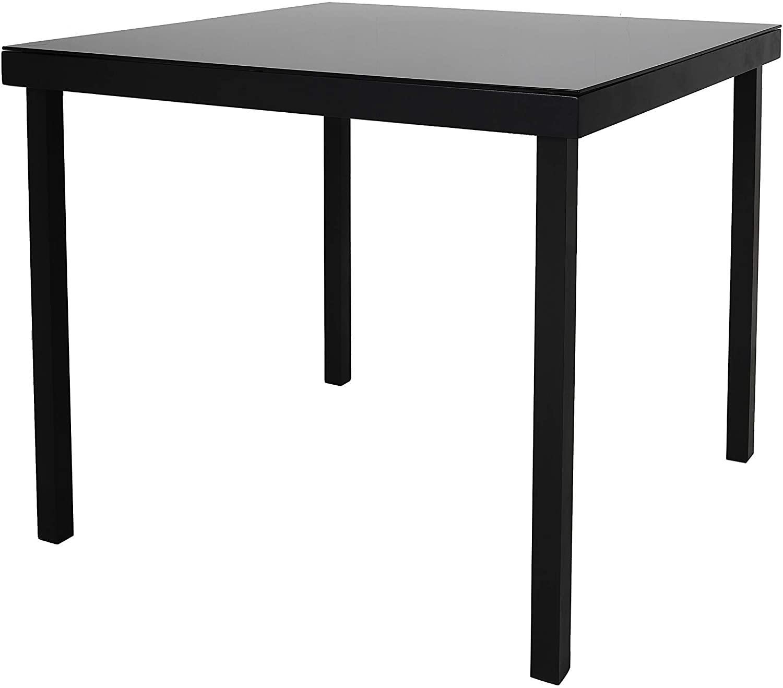 Chicreat - Mesa de jardín de aluminio y cristal, 90 x 90 x 74cm (negro)