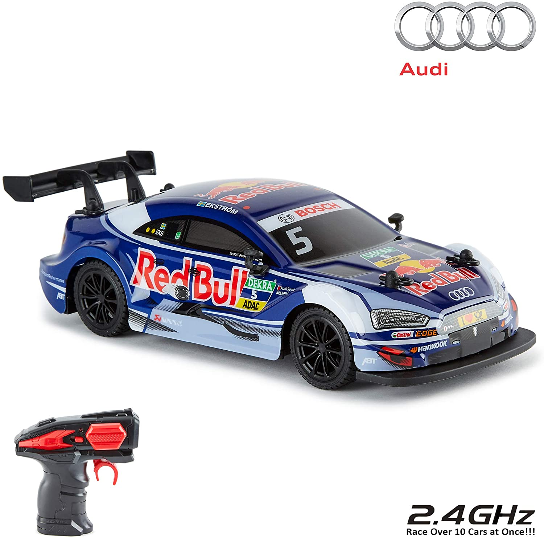 CMJ RC Cars ™ Audi RS5 DTM Coche de Control Remoto con Licencia Oficial 1:24 Escala 2.4Ghz Azul / Red Bull