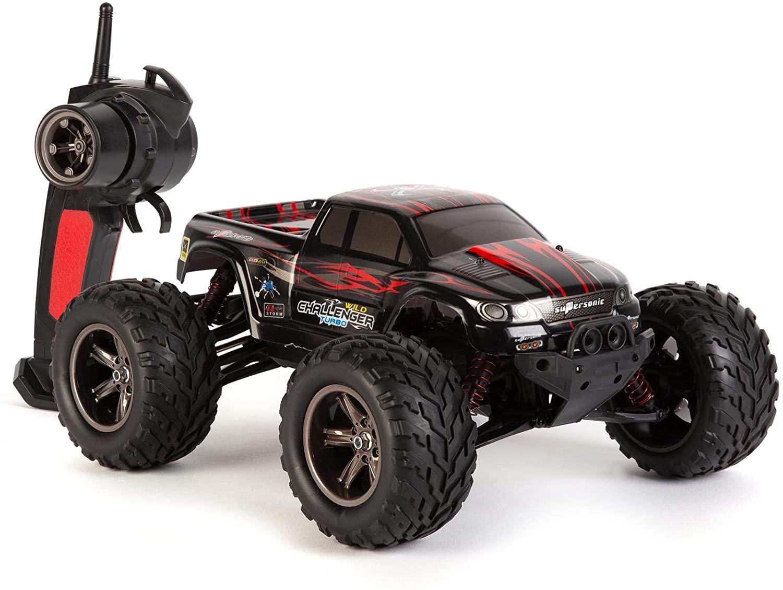 Coche Teledirigido RC - Big Wheel Monster Truck - 2.4 GHz 9.6V - Negro y Rojo
