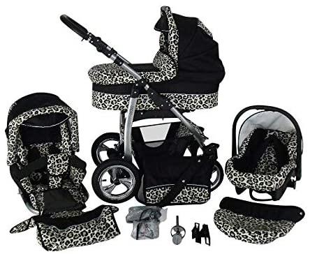 Cochecito de bebe 3 en 1 2 en 1 Trio Isofix silla de paseo D-Deluxe by SaintBaby negro & leopardo 2in1 sin Silla de coche