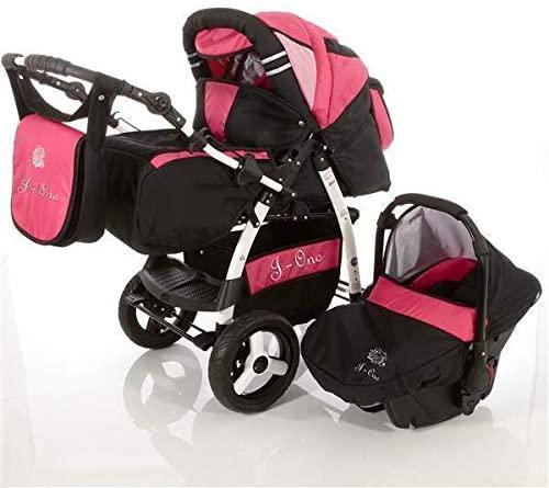 Cochecito de bebe 3 en 1 2 en 1 Trio Isofix silla de paseo Jag-Cat by SaintBaby negro & rosa 3in1 con Silla de coche