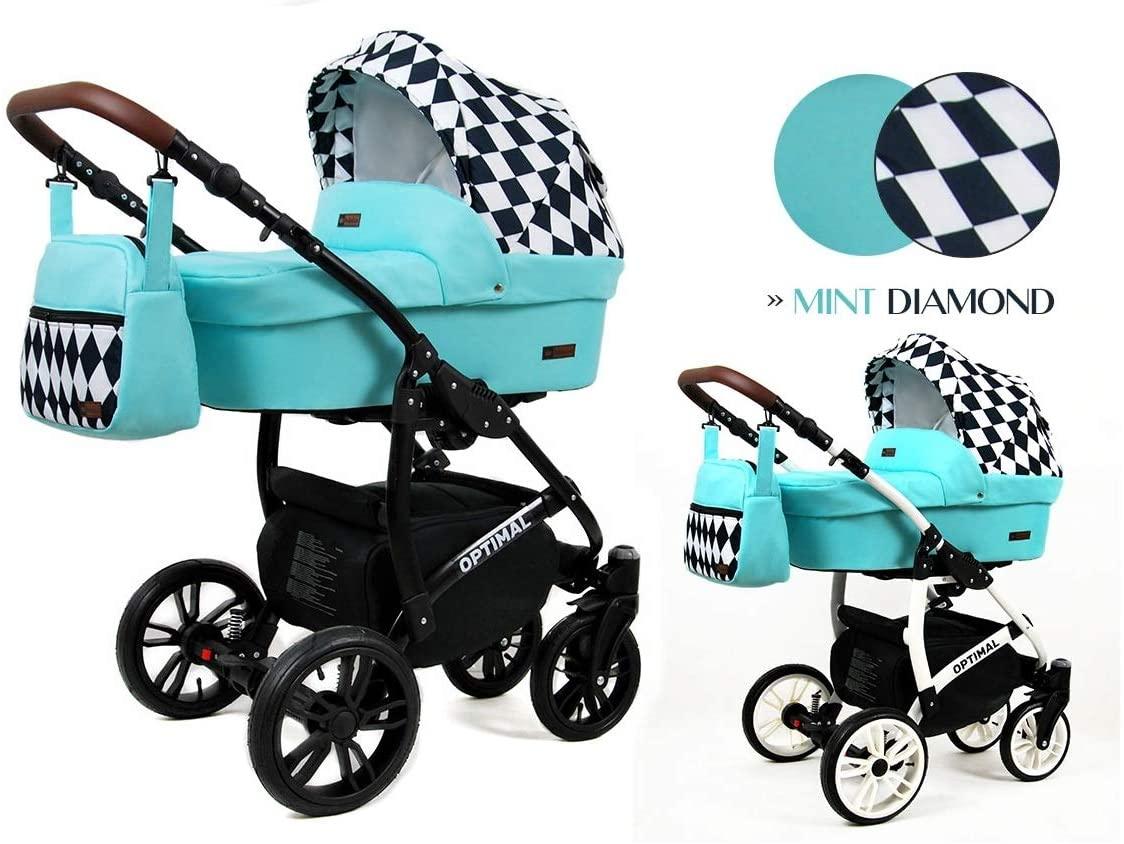 Cochecito de bebe 3 en 1 2 en 1 Trio Isofix silla de paseo Maximum by SaintBaby Mint Diamond 2in1 sin Silla de coche