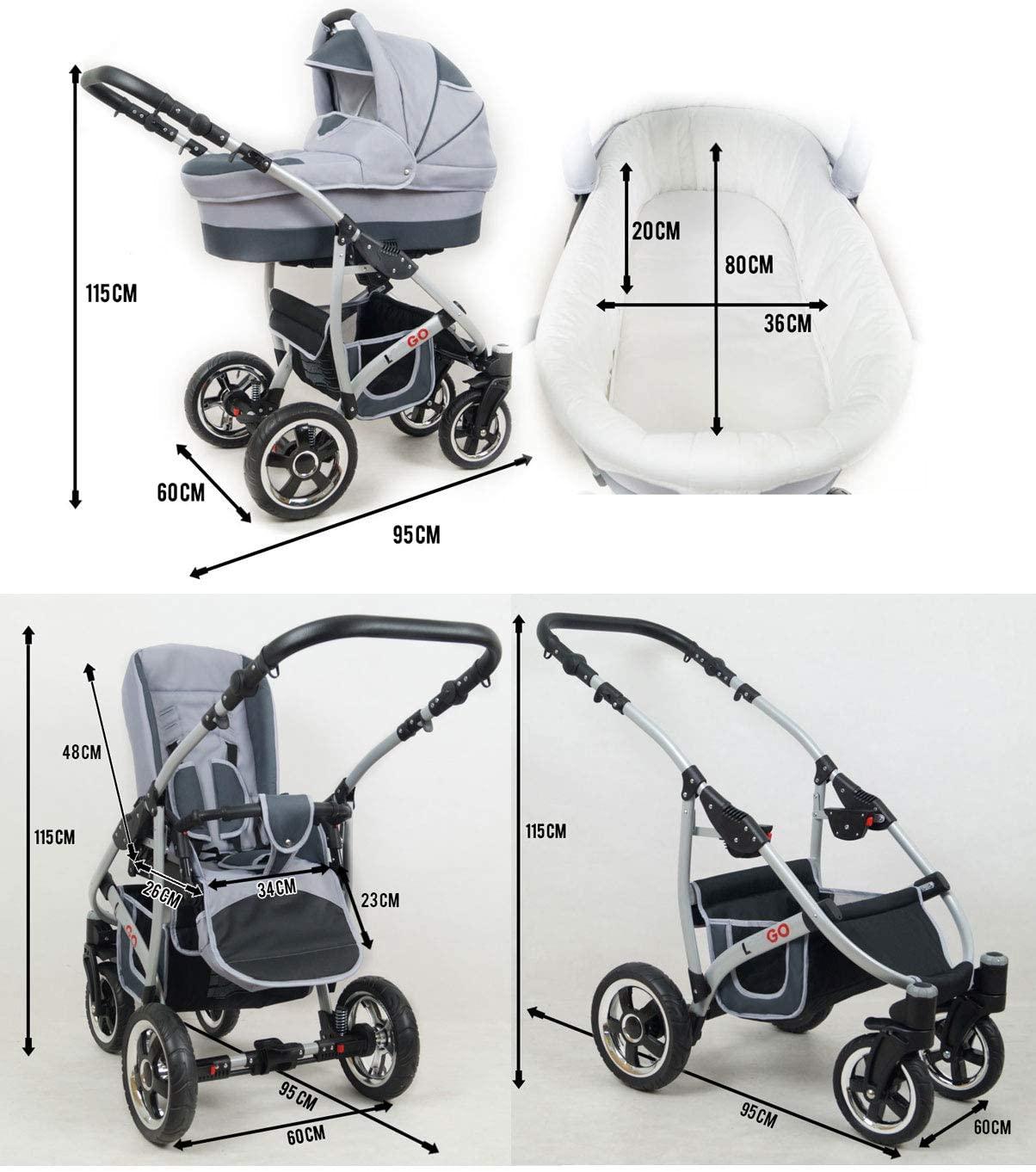 Cochecito de bebe 3 en 1 2 en 1 Trio Isofix silla de paseo New L-GO 2 by SaintBaby negro & lila 2in1 sin Silla de coche