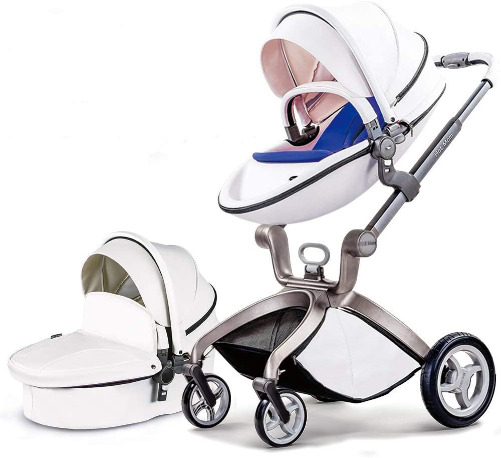 Cochecito de Bebe Hot Mom Cochecito y Sillas de paseo 3 en 1 con silla y el capazo, 2020 estilo de vida F22 asiento de carro extra comprable - Blanco