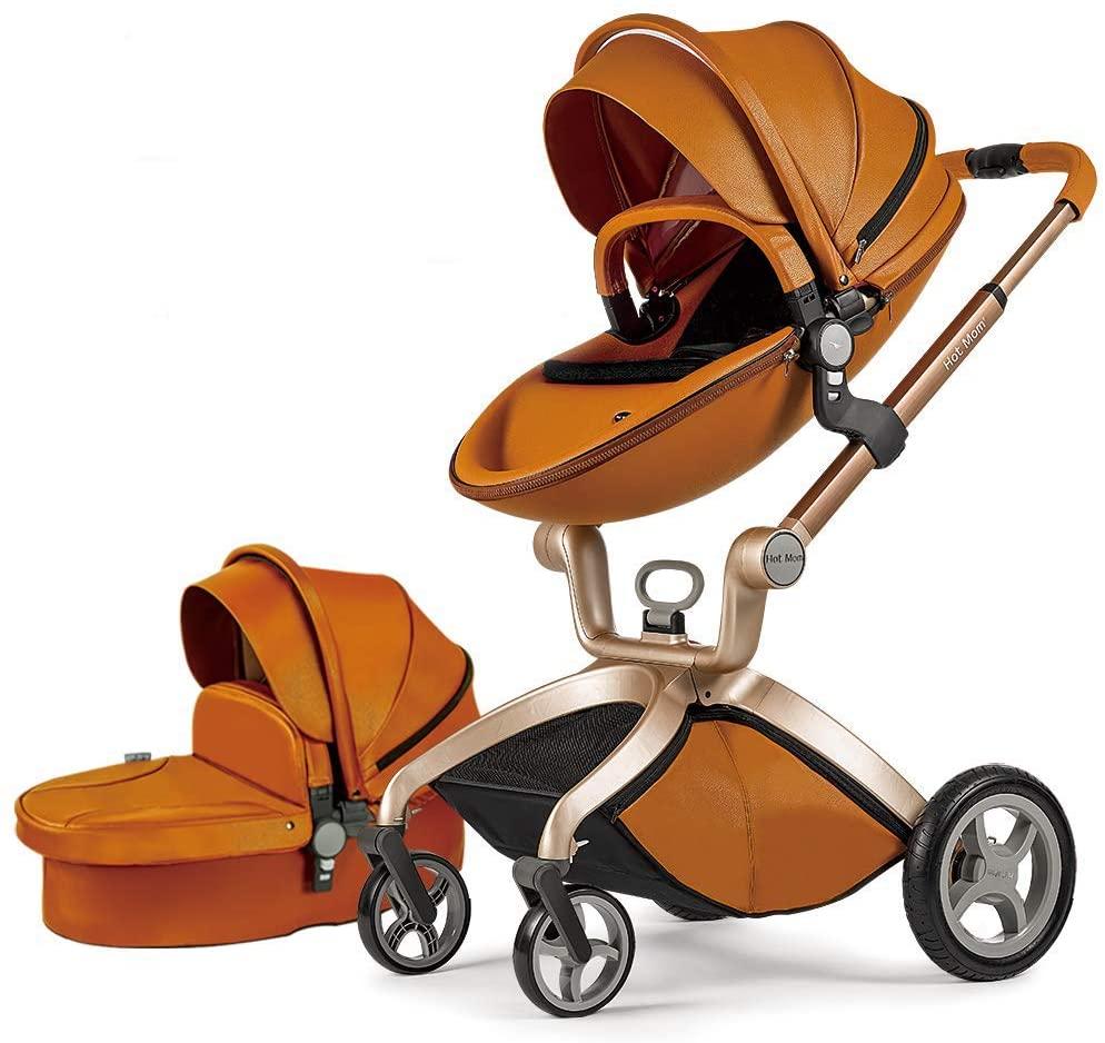 Cochecito de Bebe Hot Mom Cochecito y Sillas de paseo 3 en 1 con silla y el capazo, 2020 estilo de vida F22 asiento de carro extra comprable - Marrón