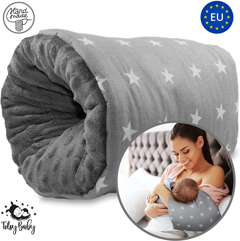 Cojin Lactancia Bebe - almohada de lactancia materna, Mini Cojín de lactancia para viajes, lavable Gris