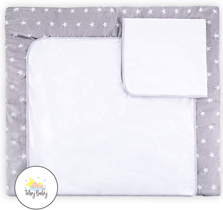 colchon cambiador bebe impermeable - espuma cambiador bebe cambiador de viaje Incluye dos intercambiable esteras de muselina chica chico gris - blanco 85x75 cm