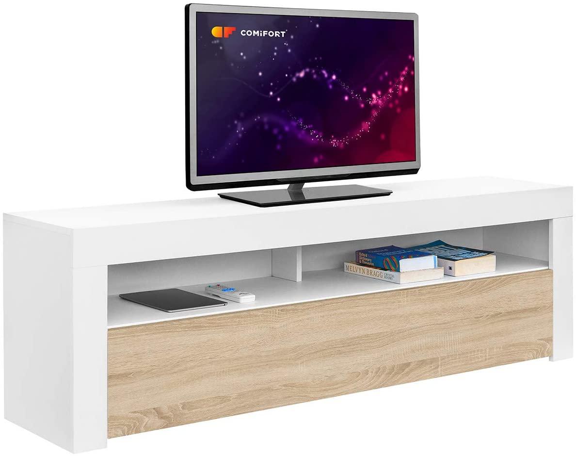 Comifort AP84B/S – Mueble TV Salón Moderno Mesa Televisión, Colores: Blanco, Blanco/Roble, Roble, Medidas: 160x35x50 Cm (Blanco/Roble)