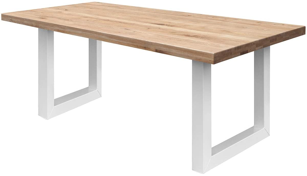 COMIFORT Mesa Comedor - Mueble de Oficina de Roble Macizo Dorado, Canto Recto, Fabricado en Europa, Patas de Acero con Acabado Blanco, Medidas de 120 x 75 cm