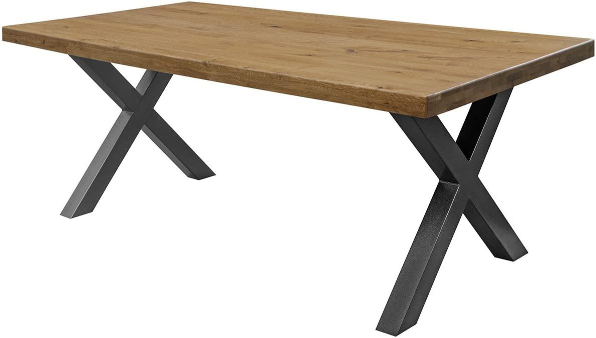COMIFORT Mesa Comedor - Mueble de Oficina de Roble Macizo Dorado, Canto Recto, Fabricado en Europa, Patas de Acero con Acabado en Grafito, Medidas de 120 x 75 cm