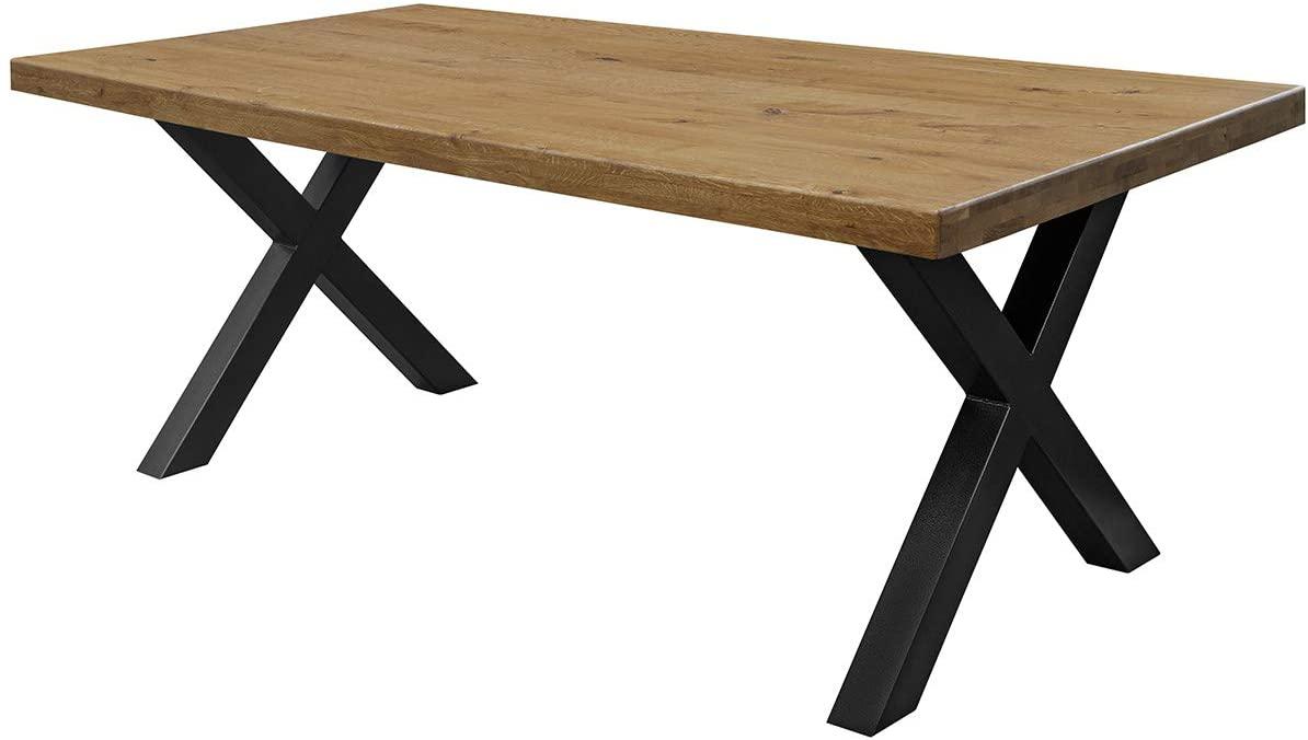 COMIFORT Mesa Comedor - Mueble de Oficina de Roble Macizo Dorado, Canto Recto, Fabricado en Europa, Patas de Acero con Acabado Negro, Medidas de 120 x 75 cm