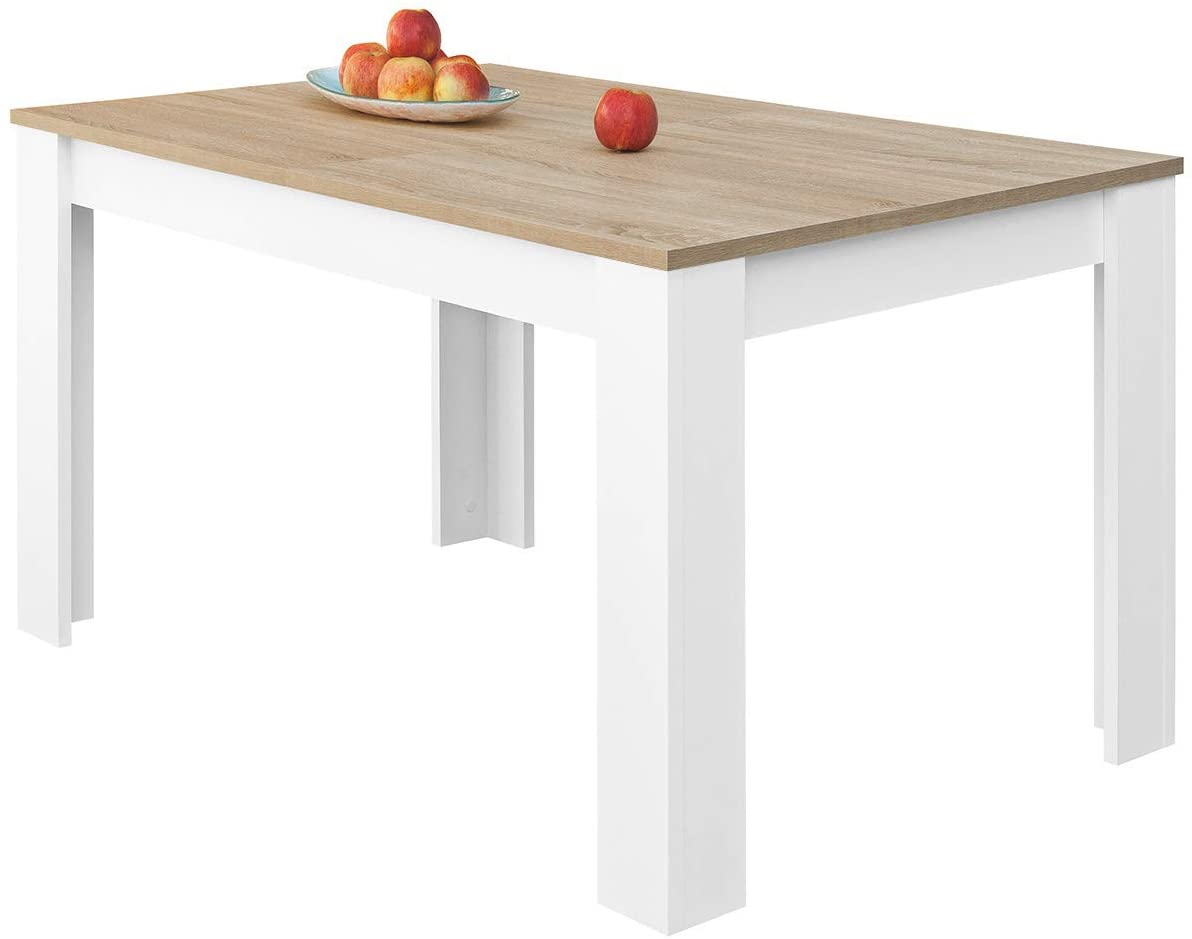 COMIFORT Mesa de Comedor- Mueble Extensible, de Estilo Moderno, Muy Resistente, con Medidas de 140/190 x 90 x 78 cm, Fabricado en Europa, Color Blanco y Roble