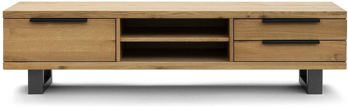 COMIFORT Mueble de TV - Mesa de Roble Macizo para Salón Moderno, Estilo Nórdico, con 3 Cajones y 2 Estantes, Patas de Acero con Acabado Negro, Color Ahumado