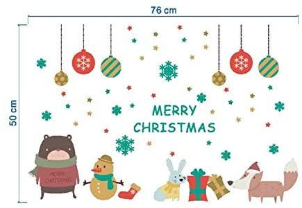 cooldeerydm Año Nuevo 2020 pegatinas de navidad para ventana Fondo Decoración de pared Etiquetas de navidad removibles Etiqueta-Blanco